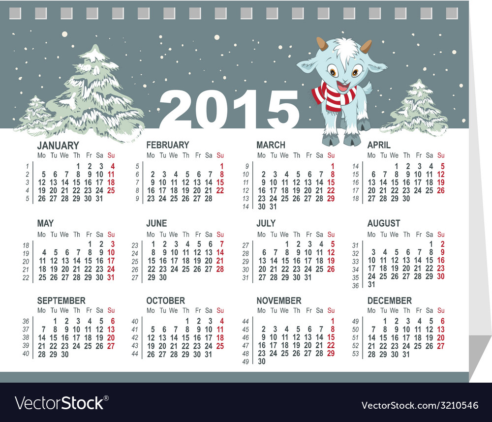 Calendar for 2015 goat symbol of the year vector | Price: 1 Credit (USD $1)