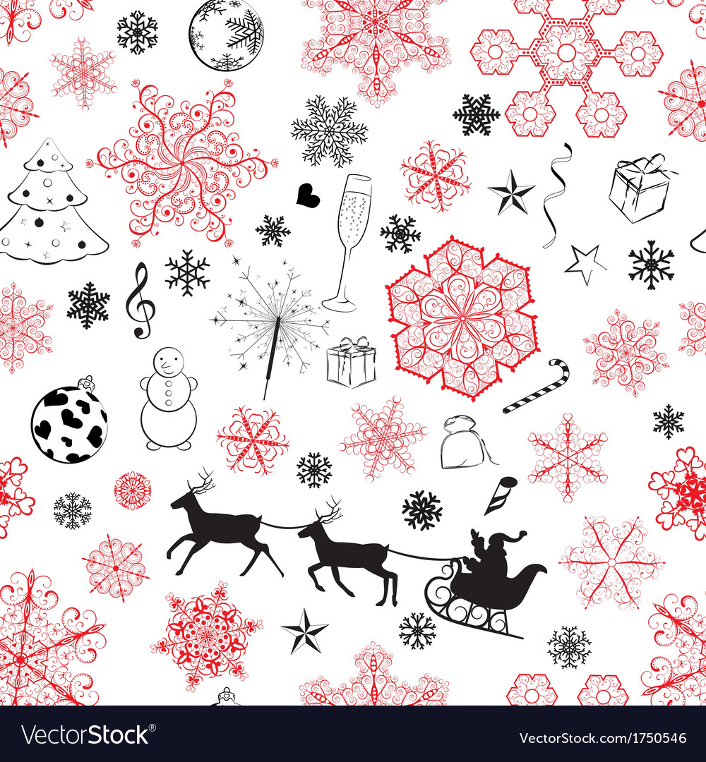 Christmas seamless red and black pattern vector | Price: 1 Credit (USD $1)