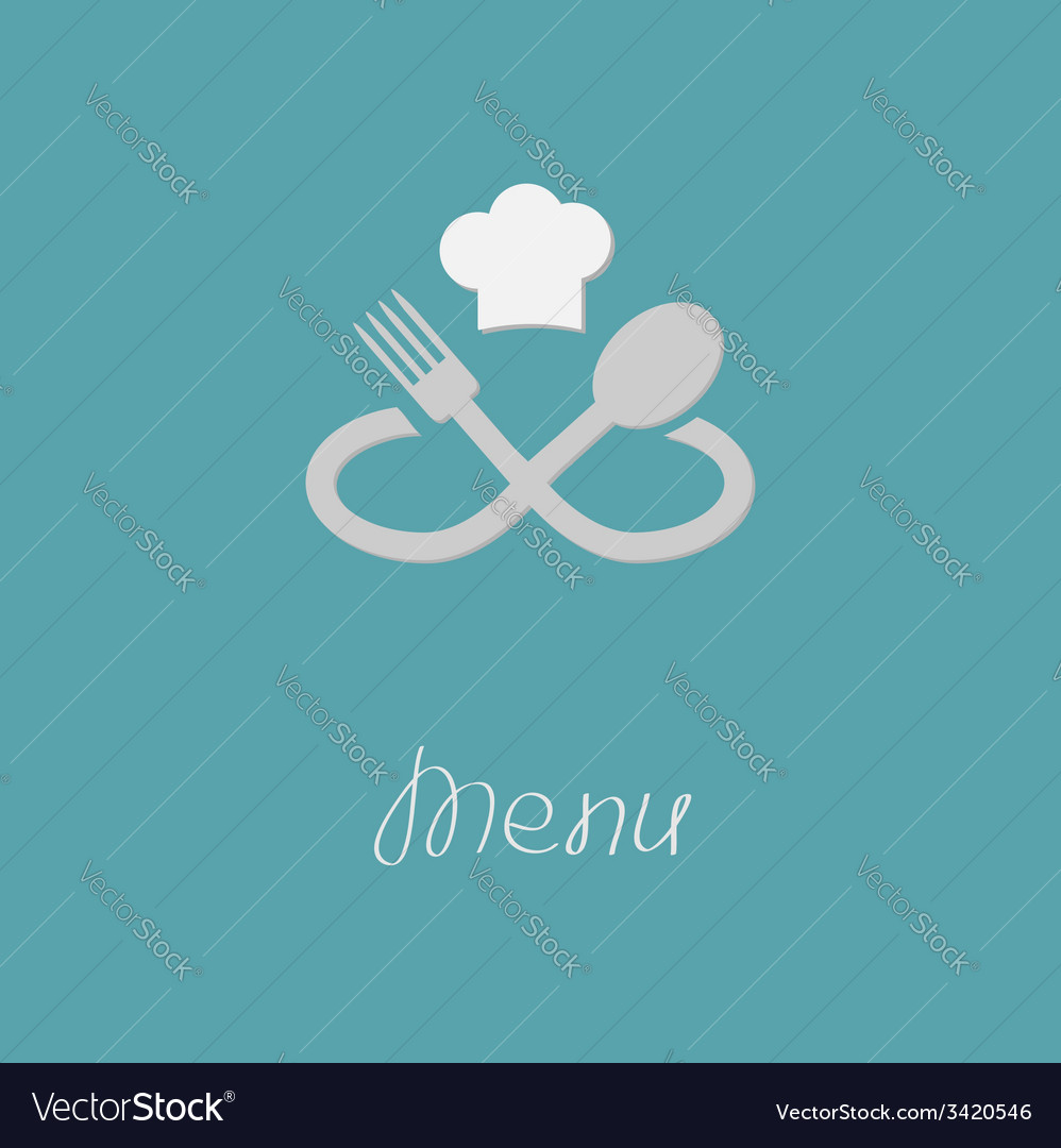 Fork spoon infinity sign and chef hat menu card vector | Price: 1 Credit (USD $1)