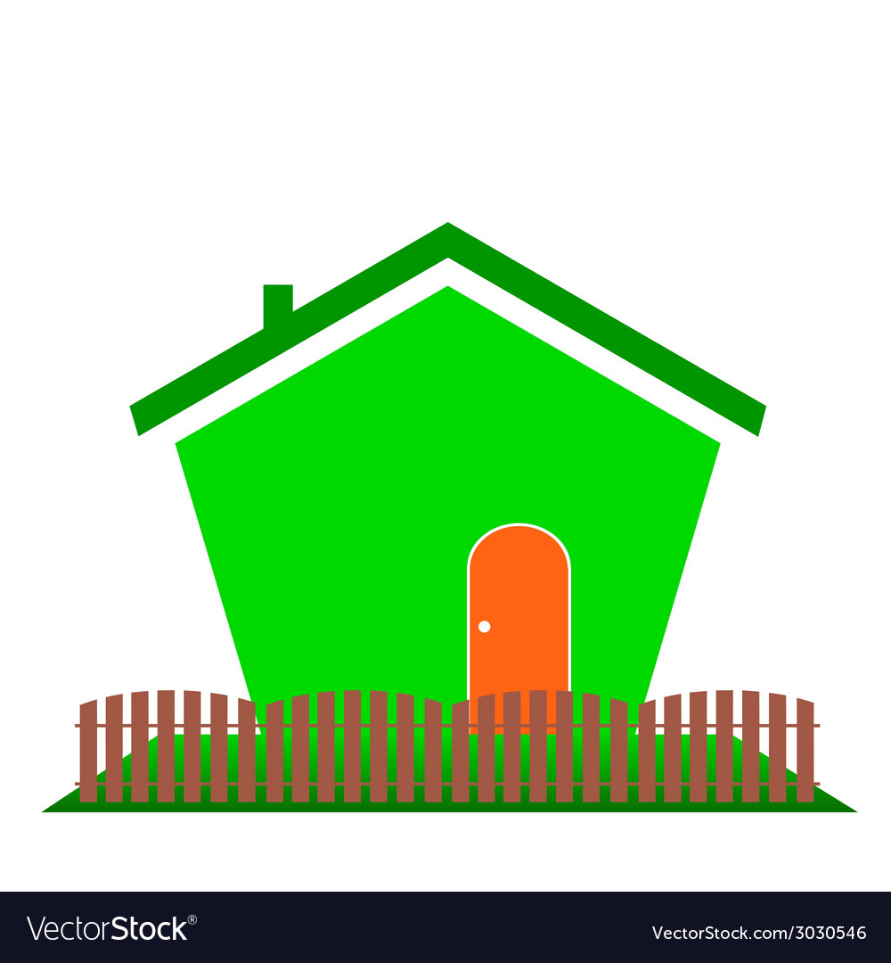 House in green color vector | Price: 1 Credit (USD $1)