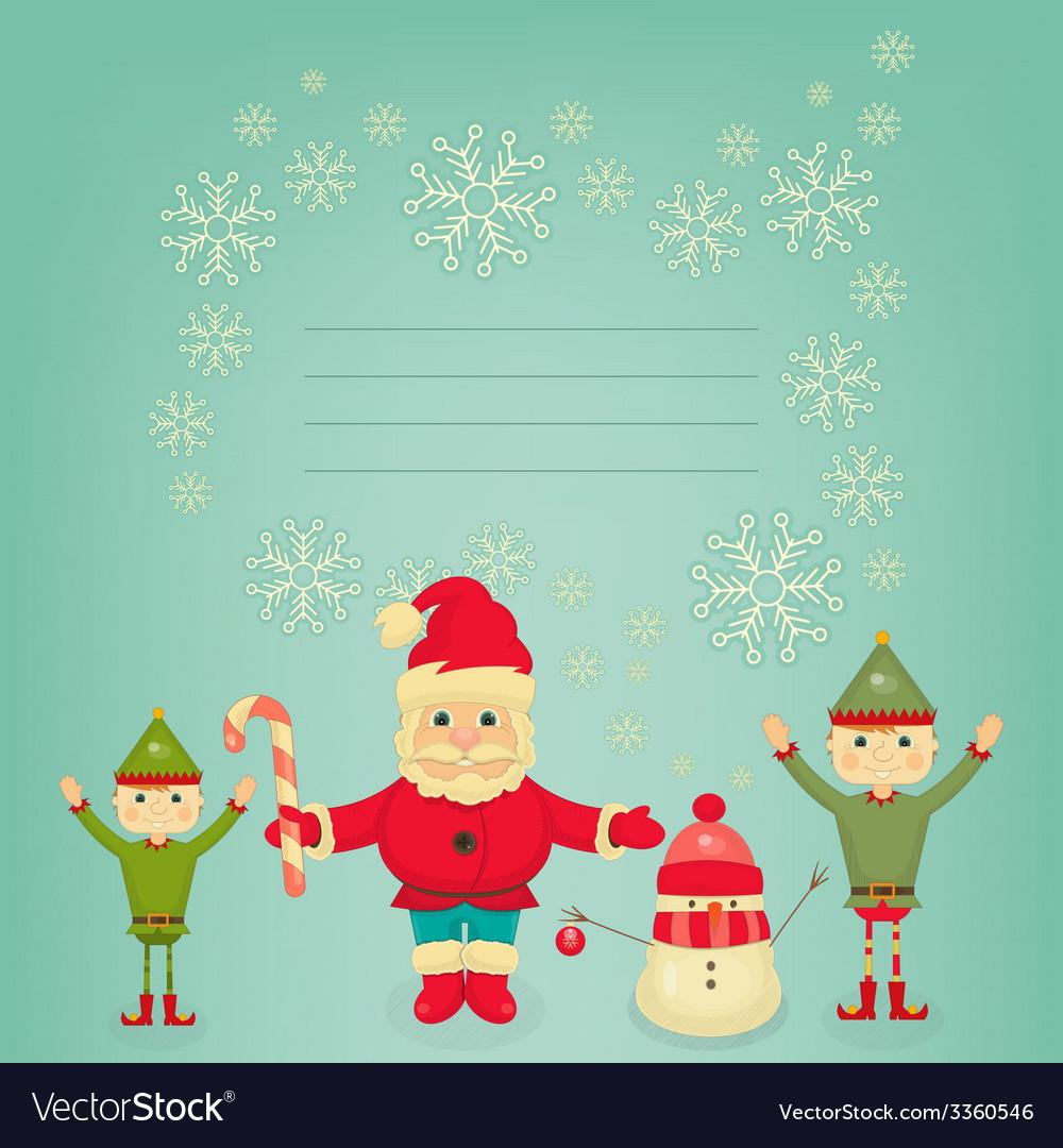 Santa claus christmas elf and snowman vector   Price: 1 Credit (USD $1)