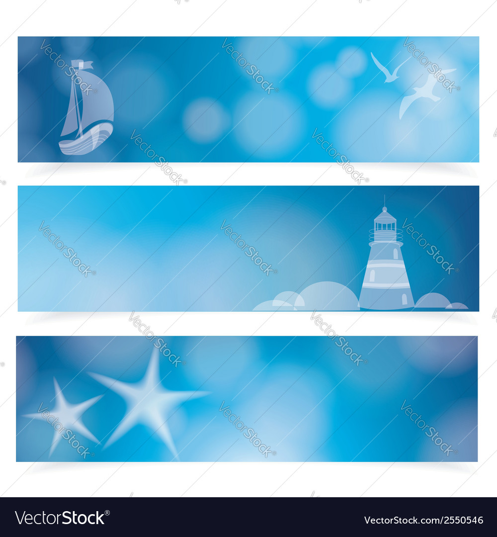 Travel and nautical - blue awesome banners vector | Price: 1 Credit (USD $1)