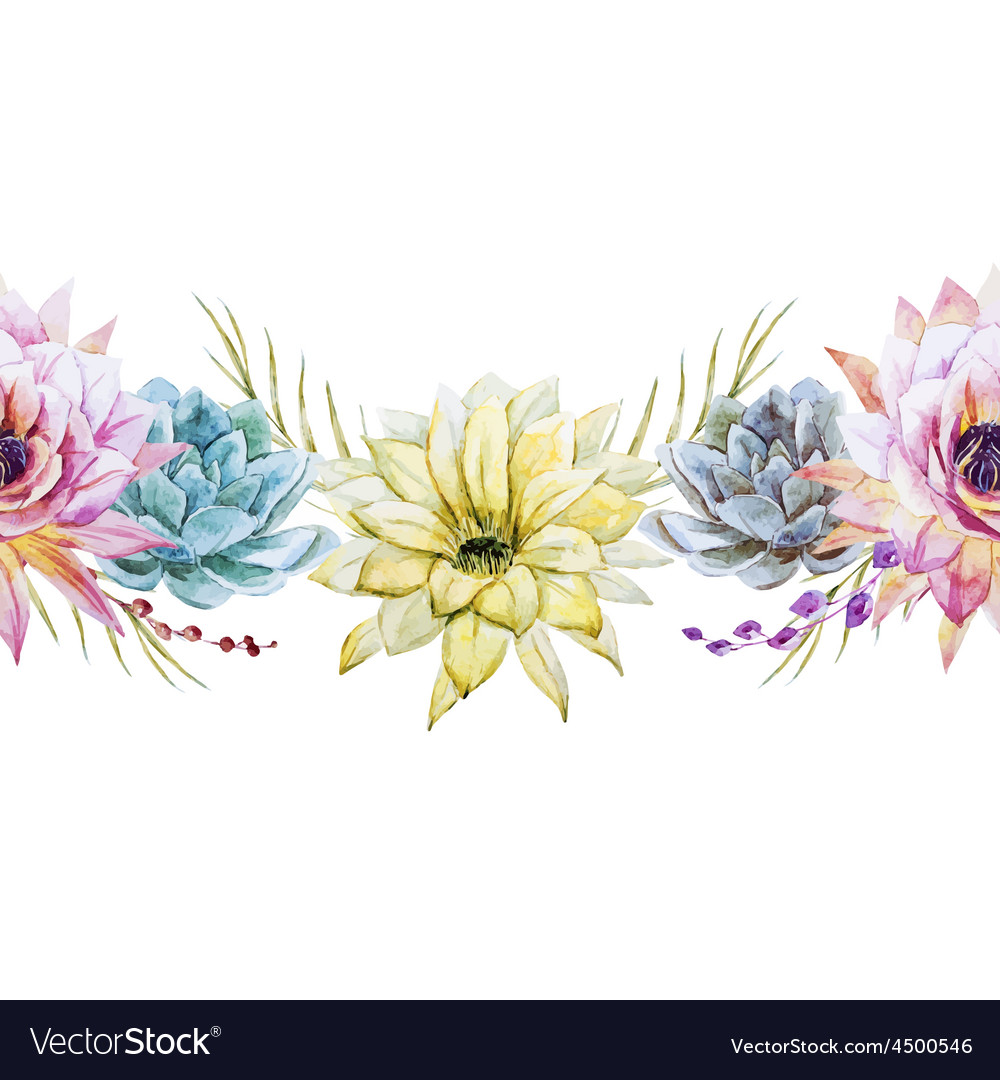 Watercolor tropical floral pattern vector | Price: 1 Credit (USD $1)