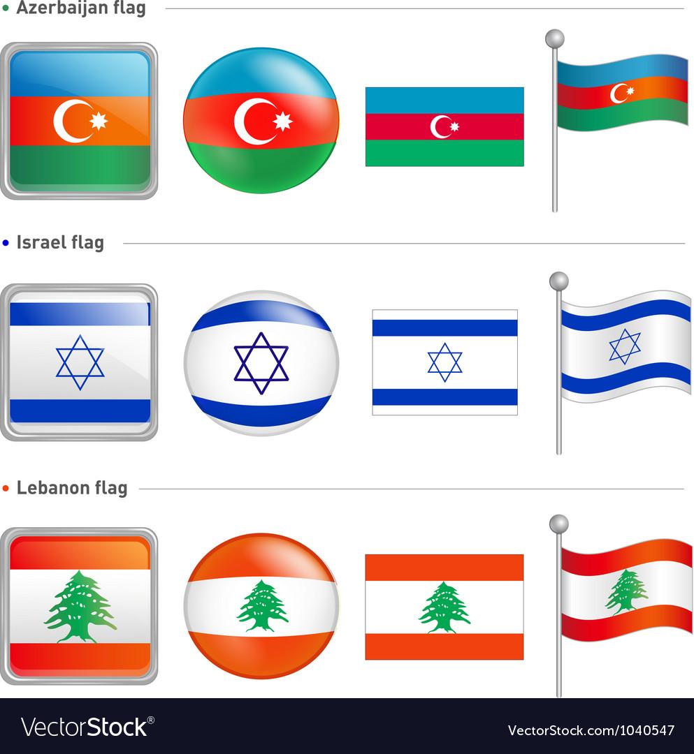 Azerbaijan israel lebanon flag icon vector | Price: 1 Credit (USD $1)