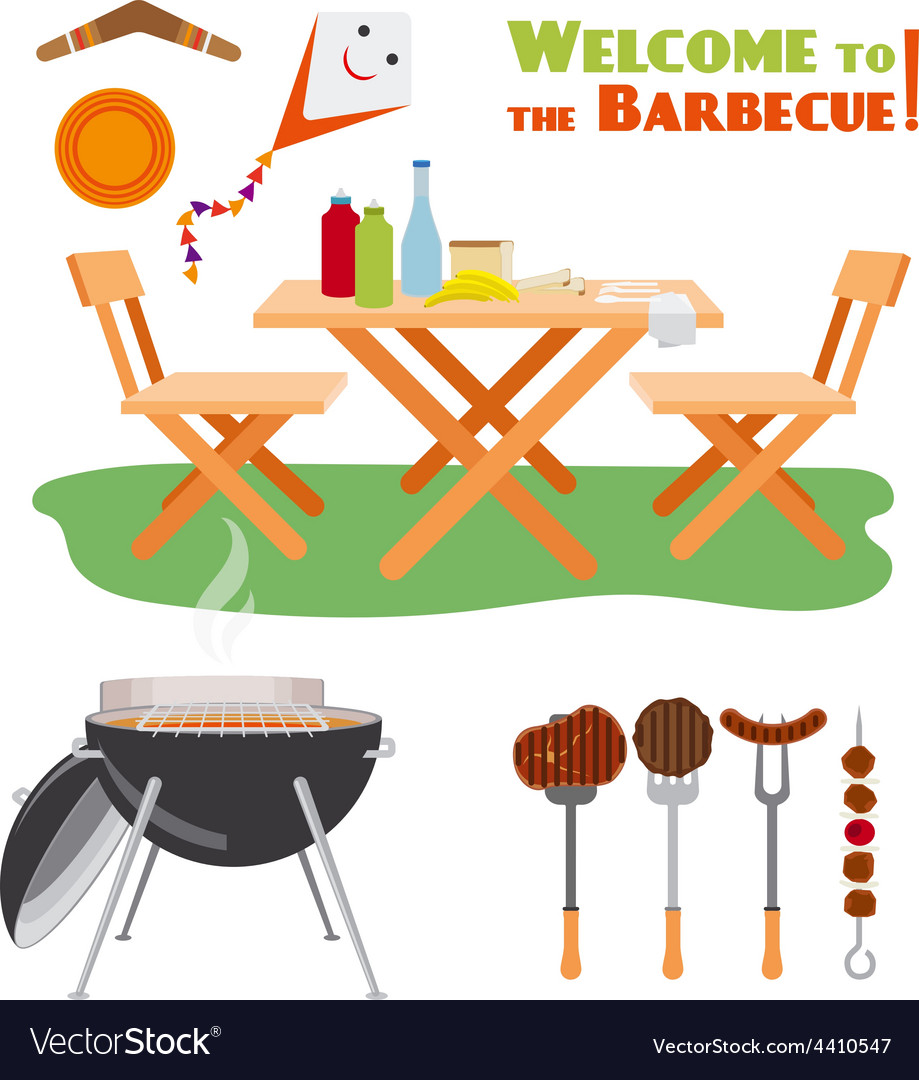 Barbecue bbq poster elements vector | Price: 1 Credit (USD $1)