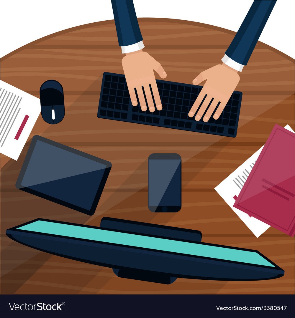 Business man working with laptop vector | Price: 1 Credit (USD $1)