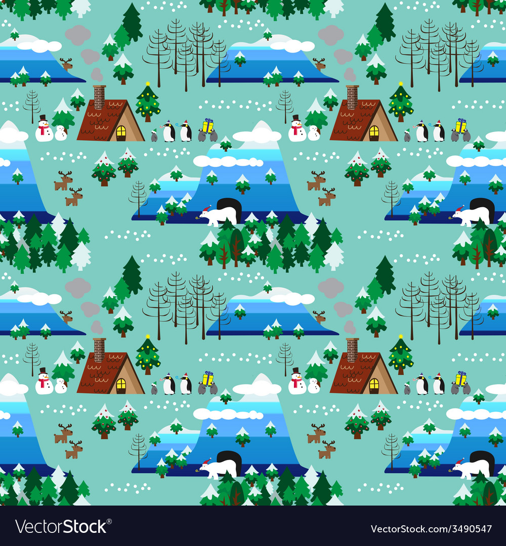 Christmas theme landscape seamless pattern vector   Price: 1 Credit (USD $1)