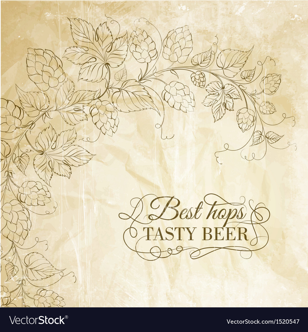 Hop and tasty beer over old paper vector | Price: 1 Credit (USD $1)