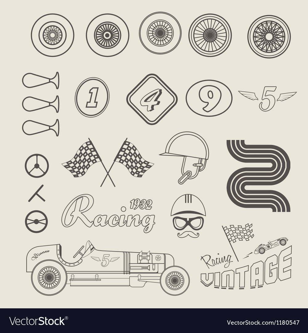 Icons of vintage car racing vector | Price: 1 Credit (USD $1)