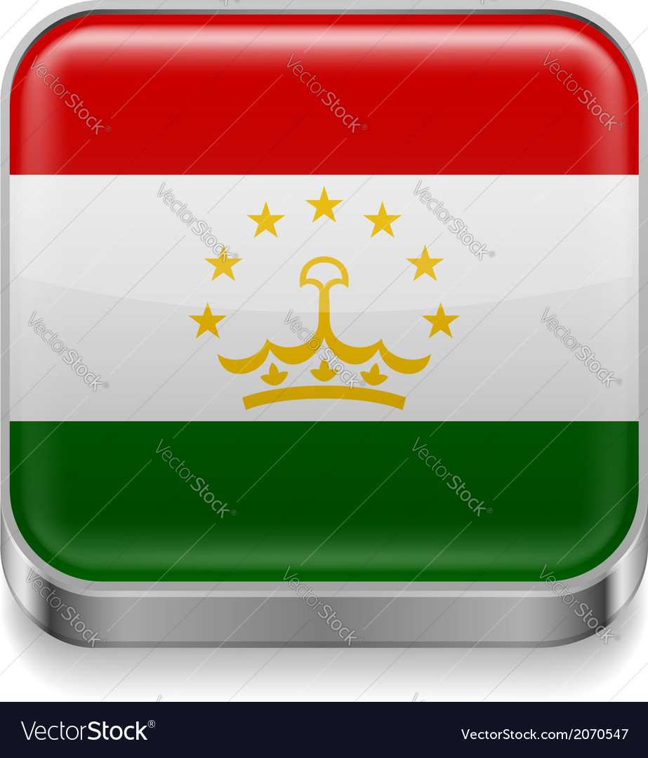 Metal icon of tajikistan vector | Price: 1 Credit (USD $1)