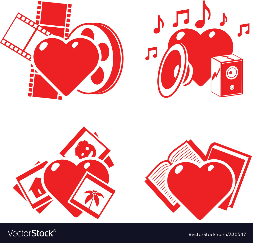 Set of the stylised hearts on a hobby theme vector | Price: 1 Credit (USD $1)
