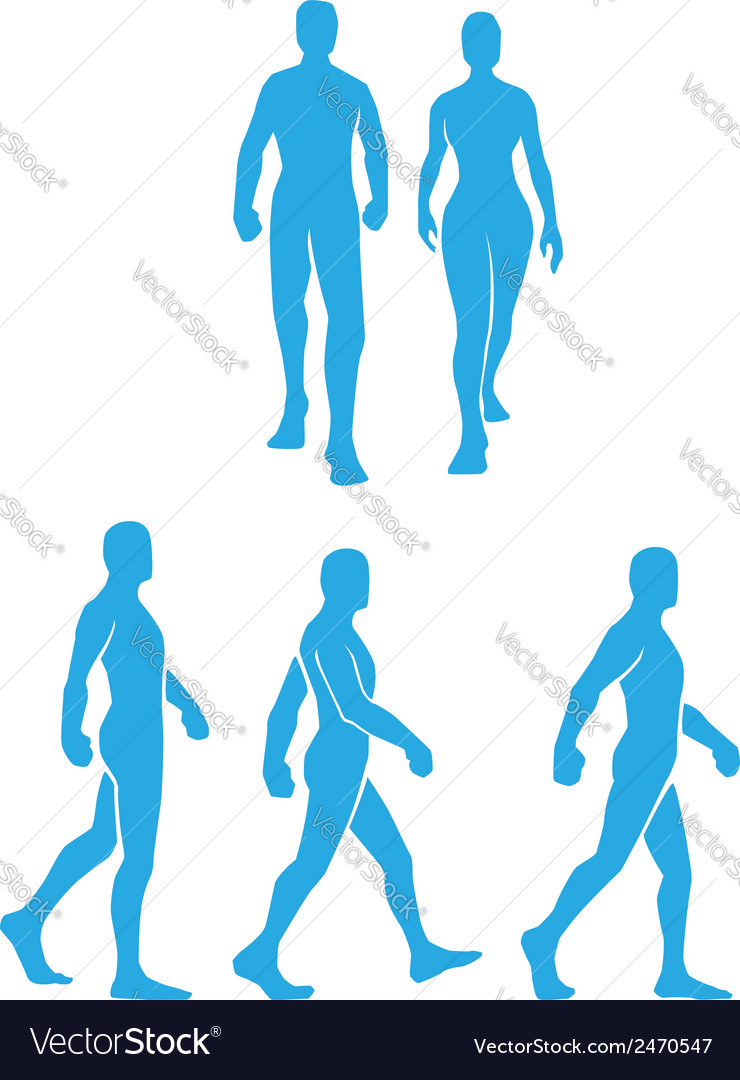 Silhouette of people walking in several poses vector | Price: 1 Credit (USD $1)