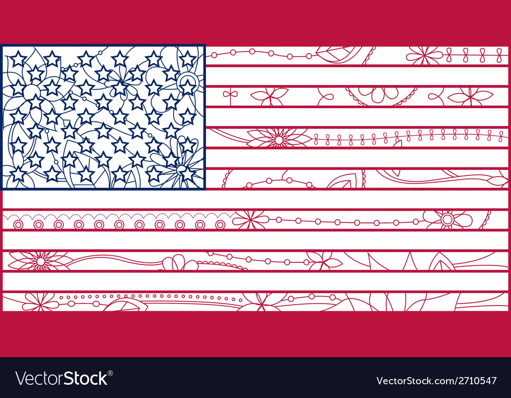 Usa flag outline vector | Price: 1 Credit (USD $1)