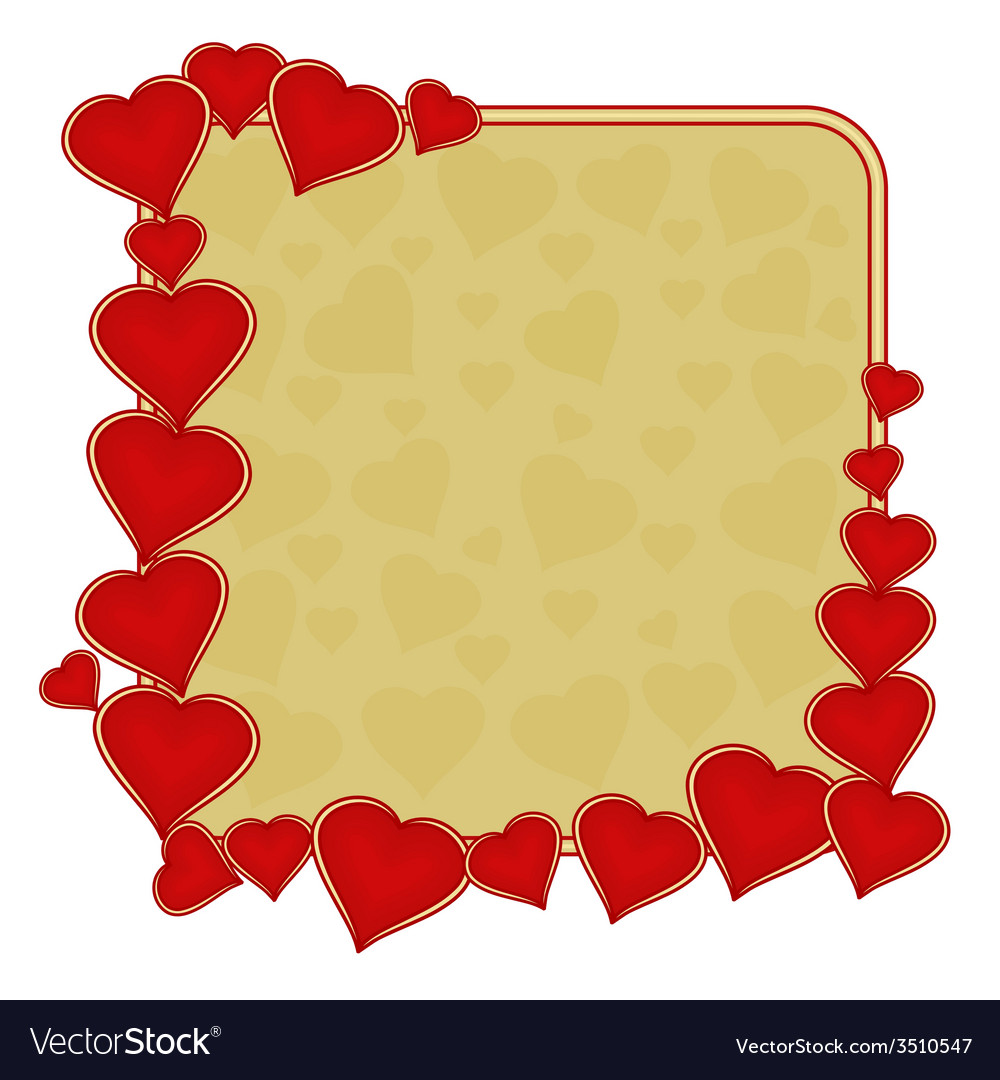 Valentines day frame of hearts gold background vector | Price: 1 Credit (USD $1)
