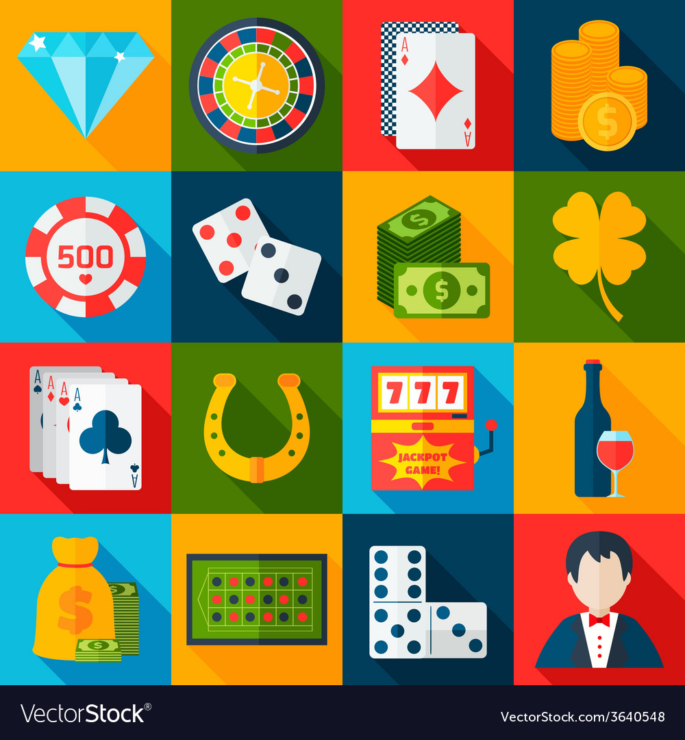 Casino flat icons vector | Price: 1 Credit (USD $1)