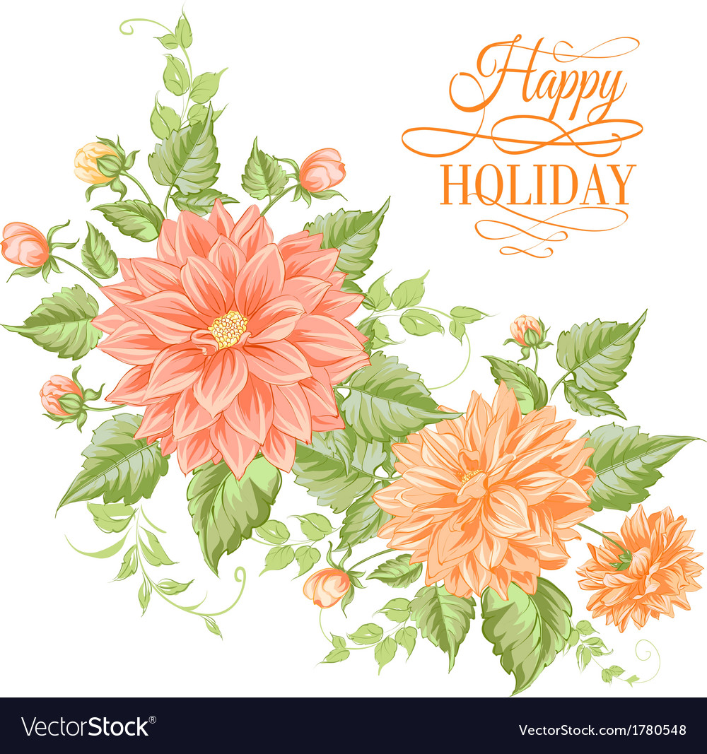 Chrysanthemum holiday card vector | Price: 1 Credit (USD $1)