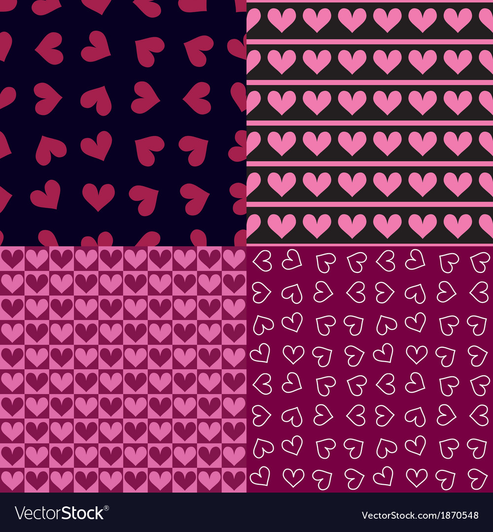 Four seamless patterns with hearts vector | Price: 1 Credit (USD $1)
