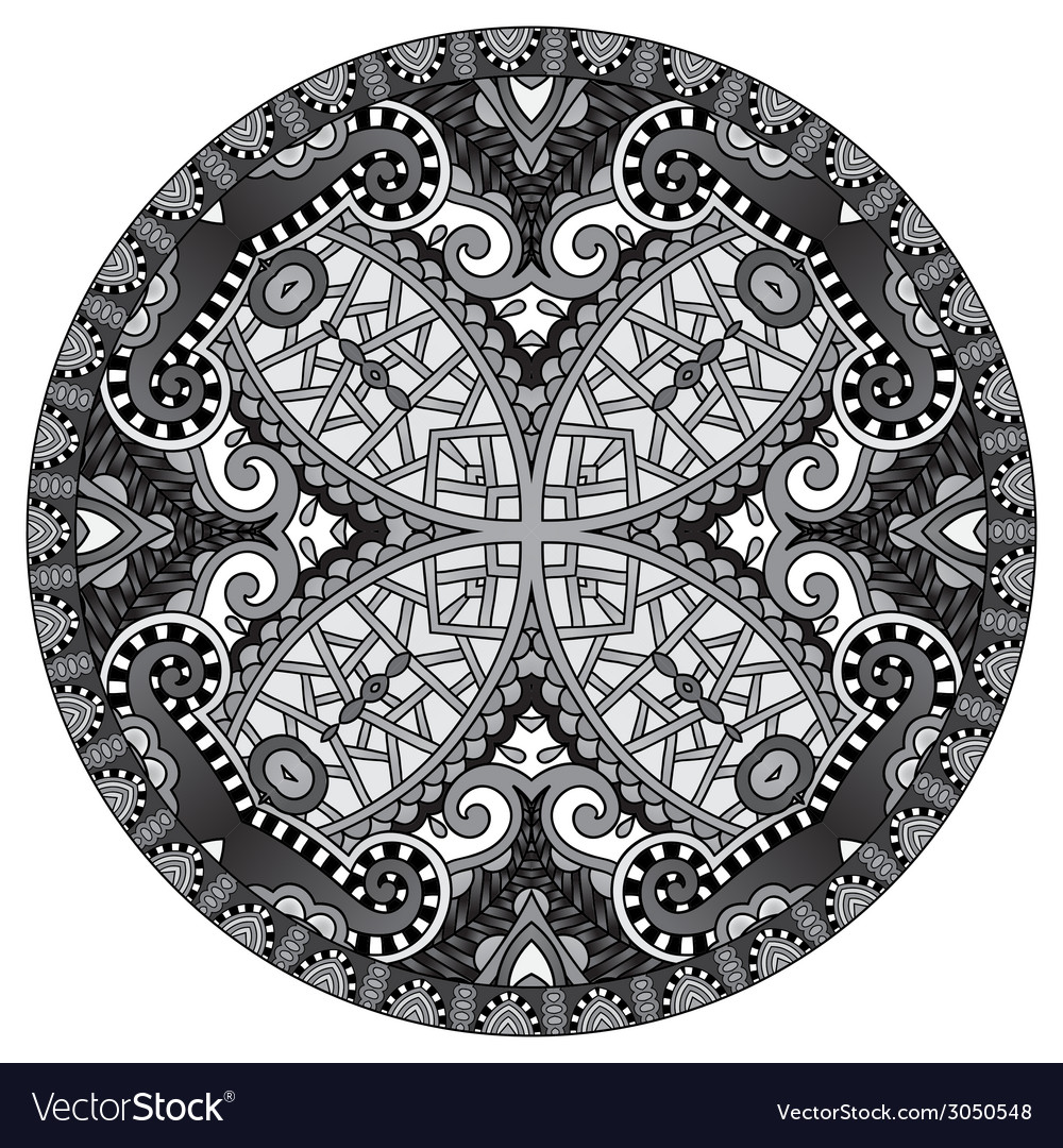 Grey decorative design of circle dish template vector | Price: 1 Credit (USD $1)