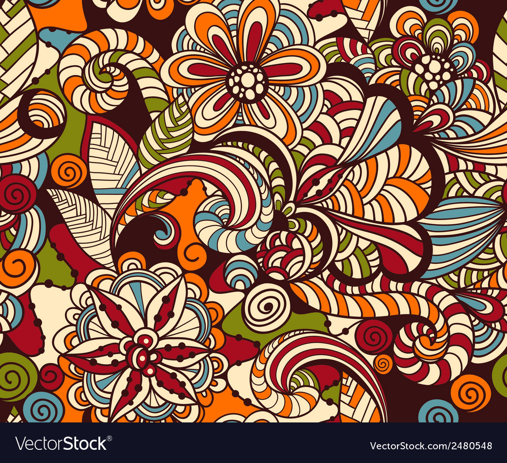 Seamless doodle floral pattern vector | Price: 1 Credit (USD $1)