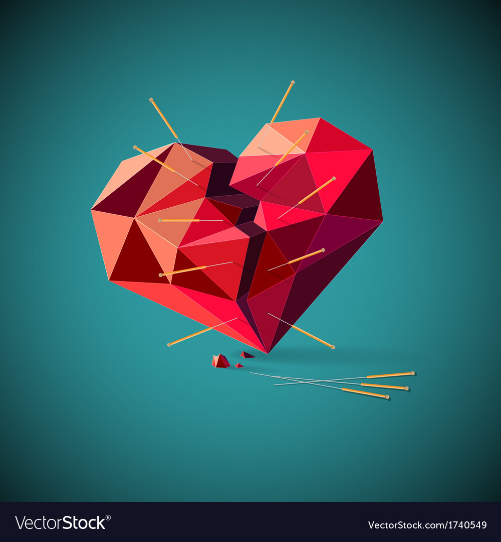 Broken heart with acupuncture needles vector | Price: 1 Credit (USD $1)