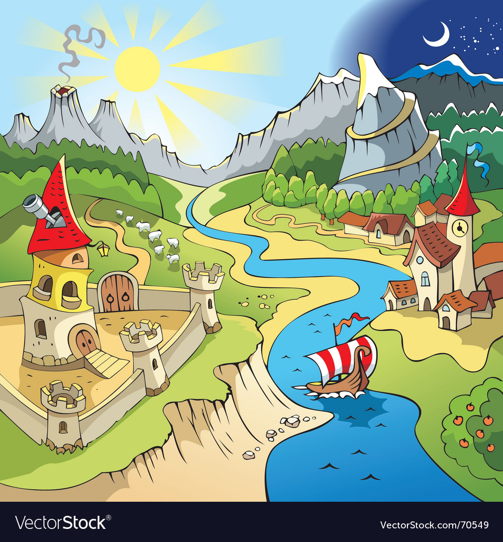 Fairy-tale landscape vector | Price: 3 Credit (USD $3)