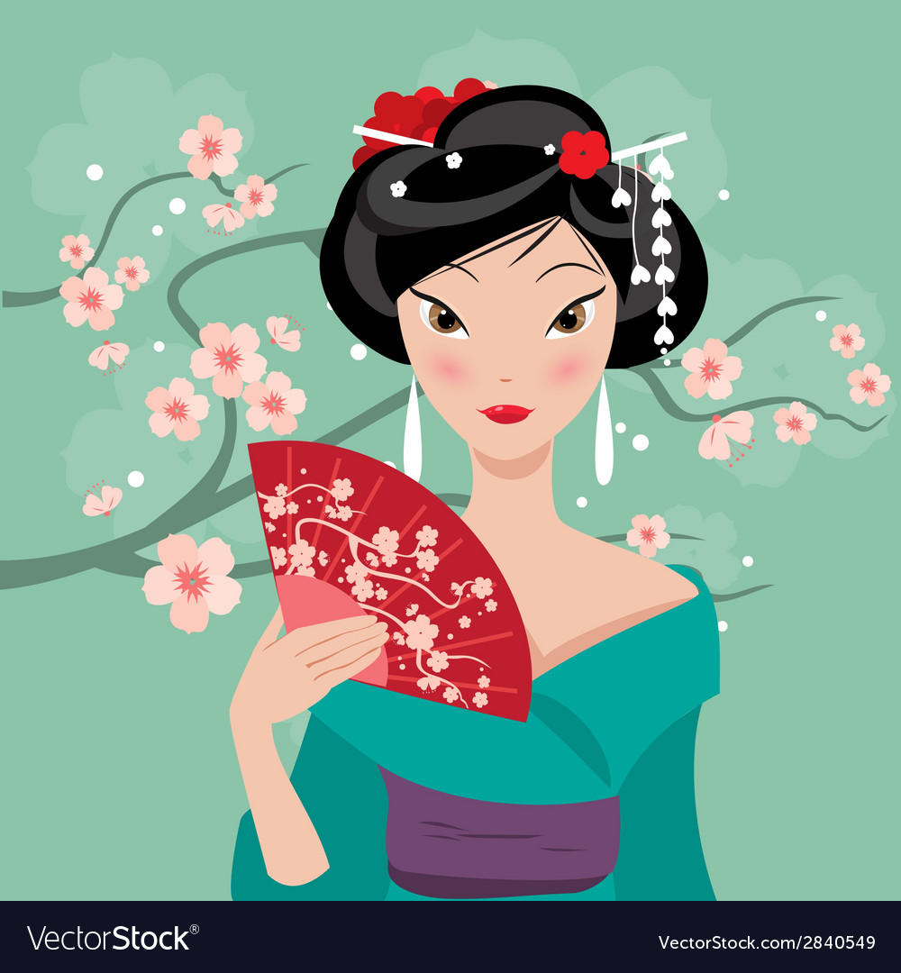 Geisha with a fan vector | Price: 1 Credit (USD $1)