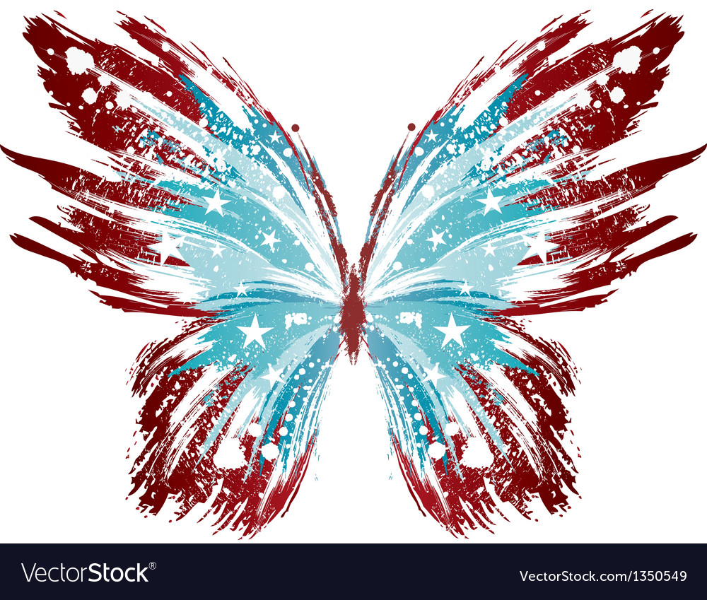 Grunge american butterfly vector