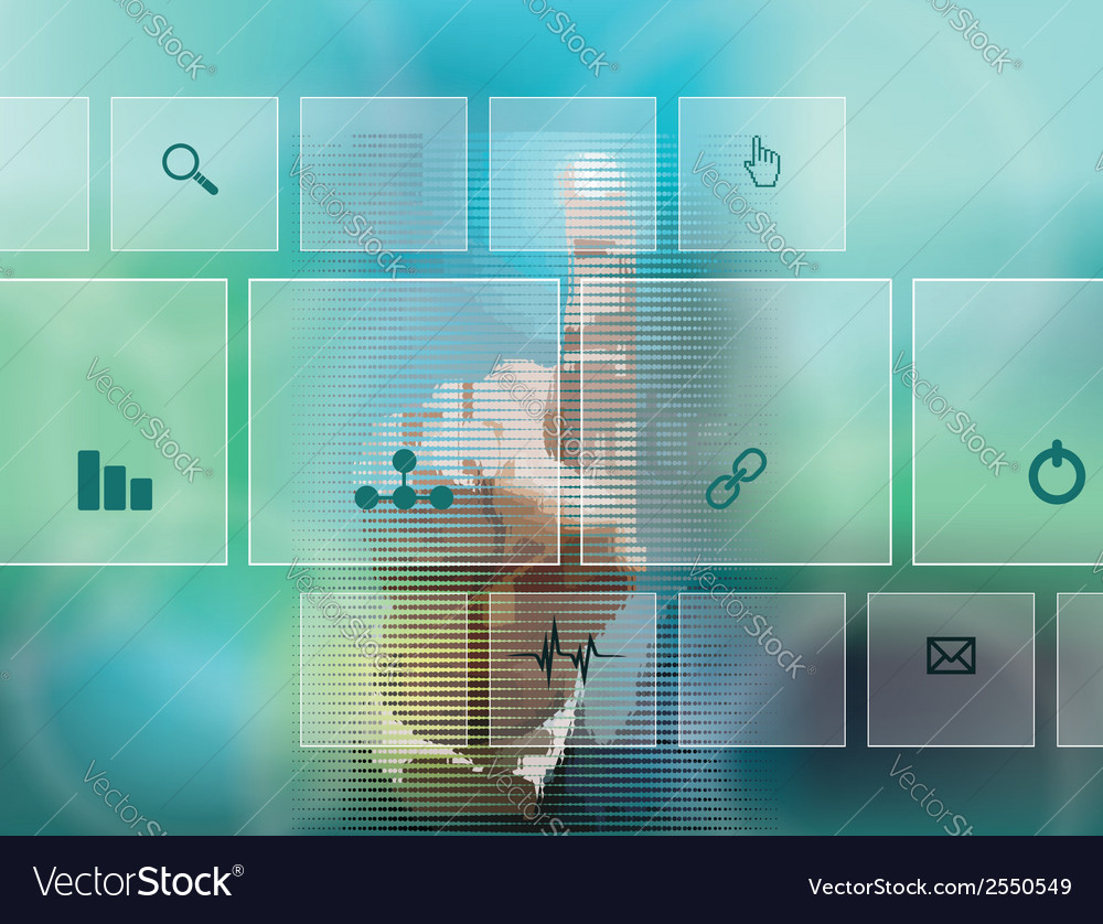 Hand pressing high tech type of modern buttons vector