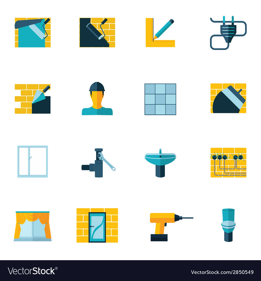 Home repair icons flat vector | Price: 1 Credit (USD $1)