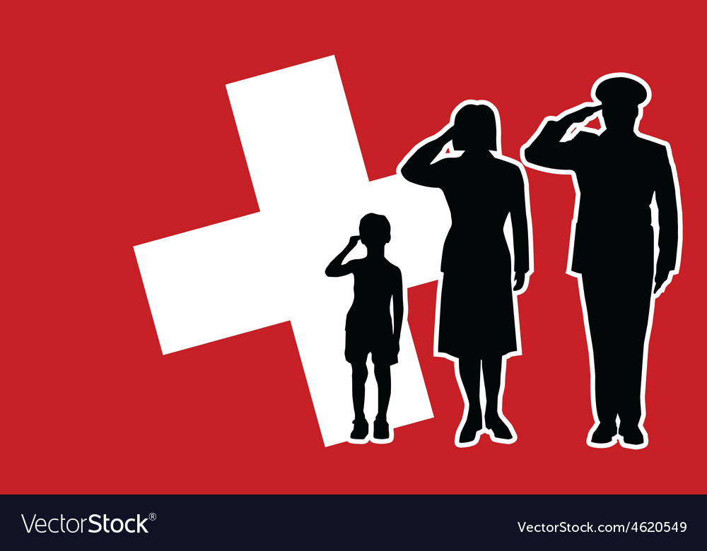 Switzerland soldier family salute vector | Price: 1 Credit (USD $1)