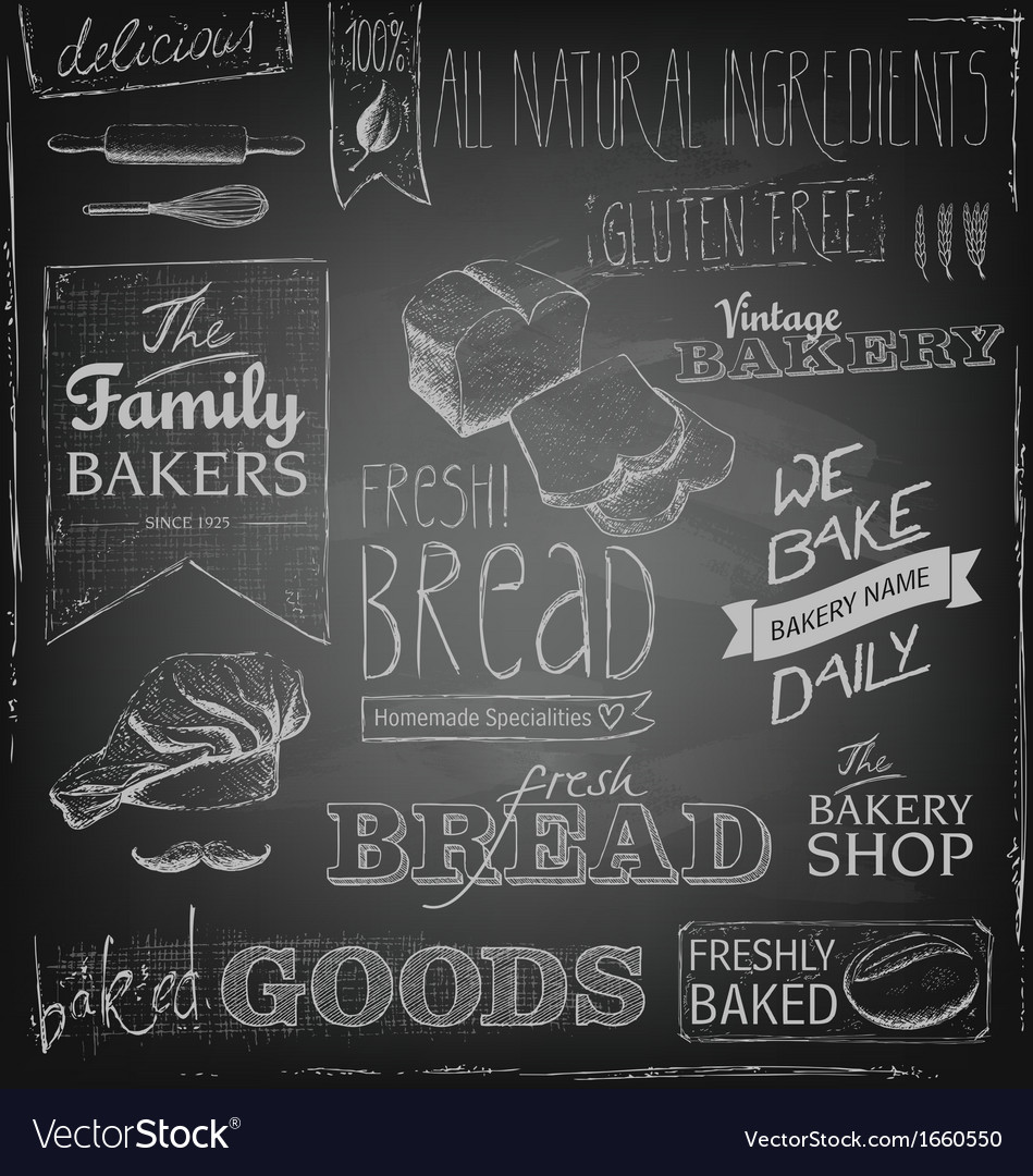 Bakery elements on a blackboard vector | Price: 1 Credit (USD $1)