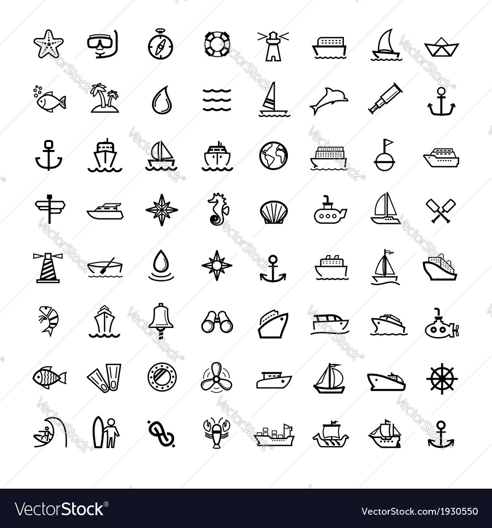 Black boat and ship icons set vector | Price: 1 Credit (USD $1)