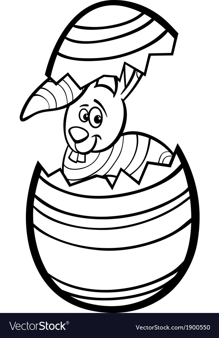 Bunny in easter egg coloring page vector | Price: 1 Credit (USD $1)