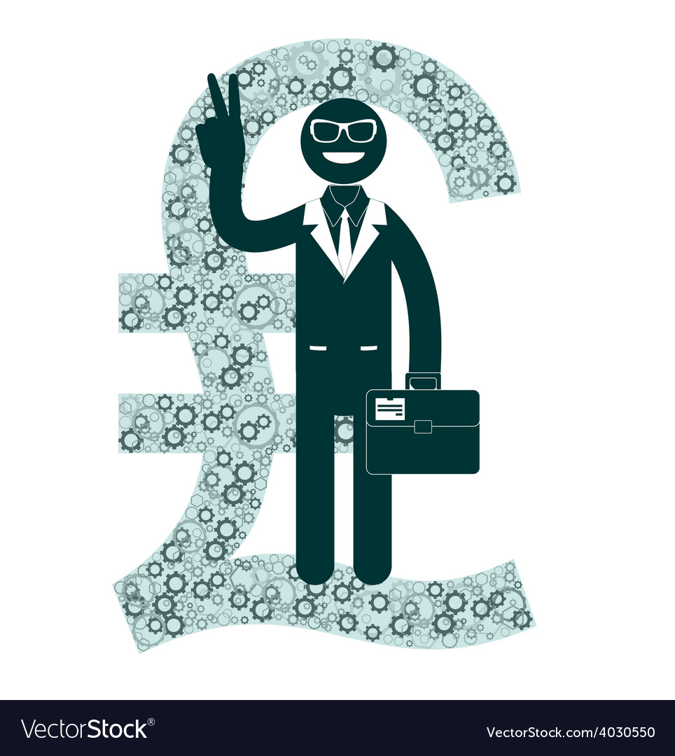 Businessman showing victory sign on a background vector   Price: 1 Credit (USD $1)