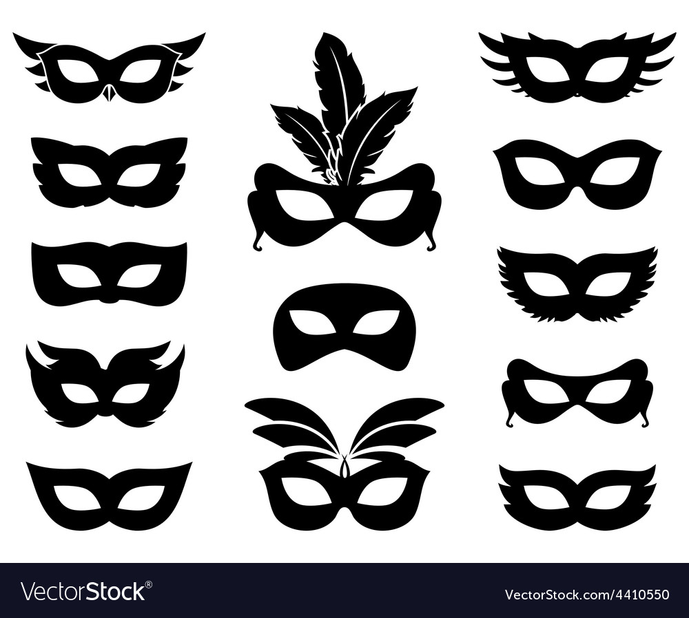 Carnival mask silhouettes vector | Price: 1 Credit (USD $1)