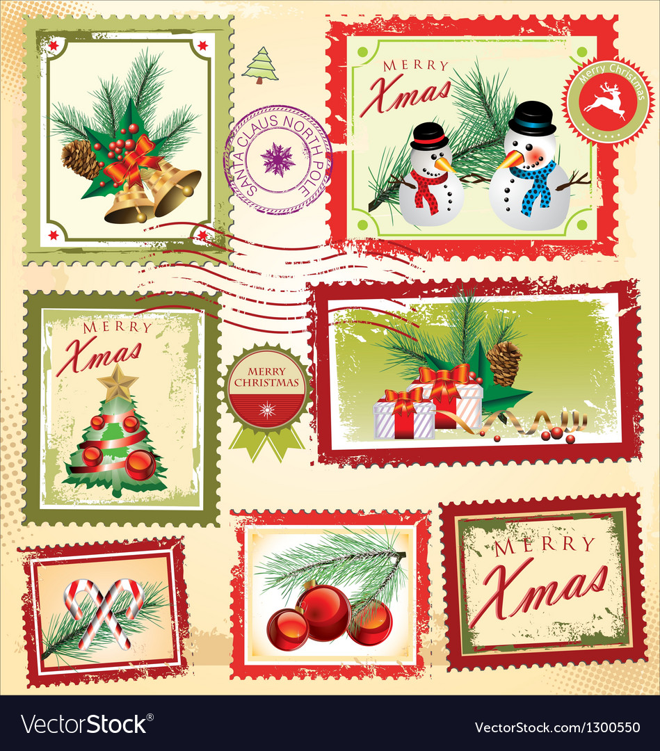 Collection of christmas post stamps vector | Price: 3 Credit (USD $3)