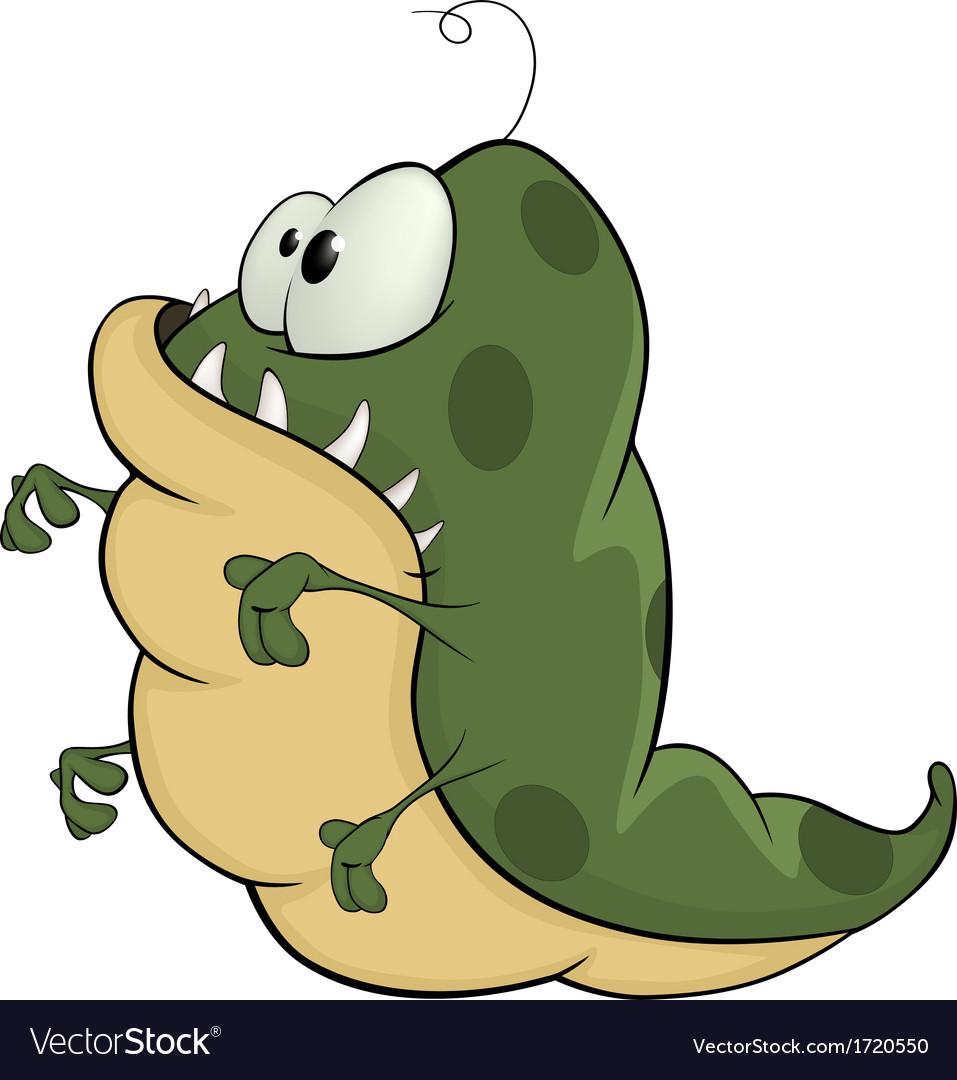 Green monster cartoon vector | Price: 1 Credit (USD $1)