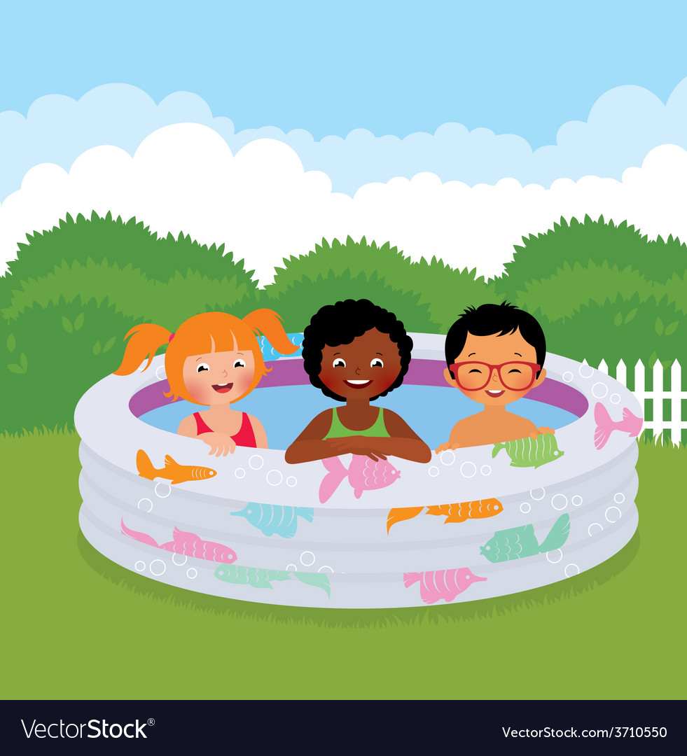 Group of children in an inflatable pool vector | Price: 1 Credit (USD $1)