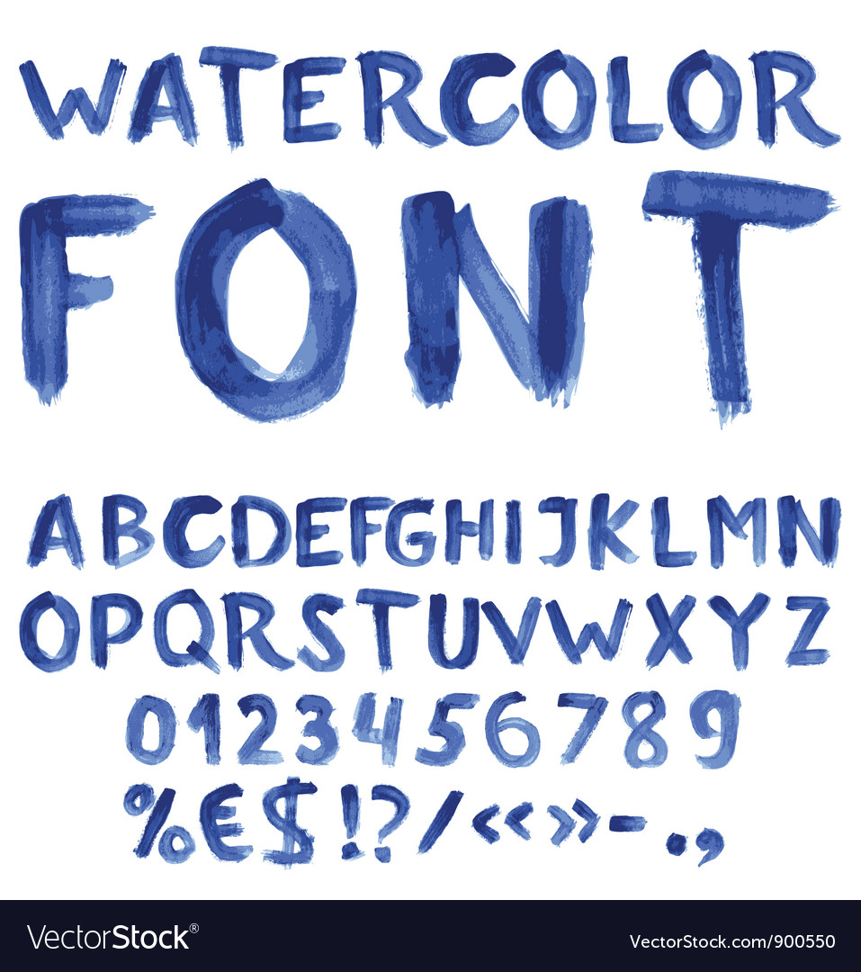 Handwritten blue watercolor alphabet vector | Price: 1 Credit (USD $1)