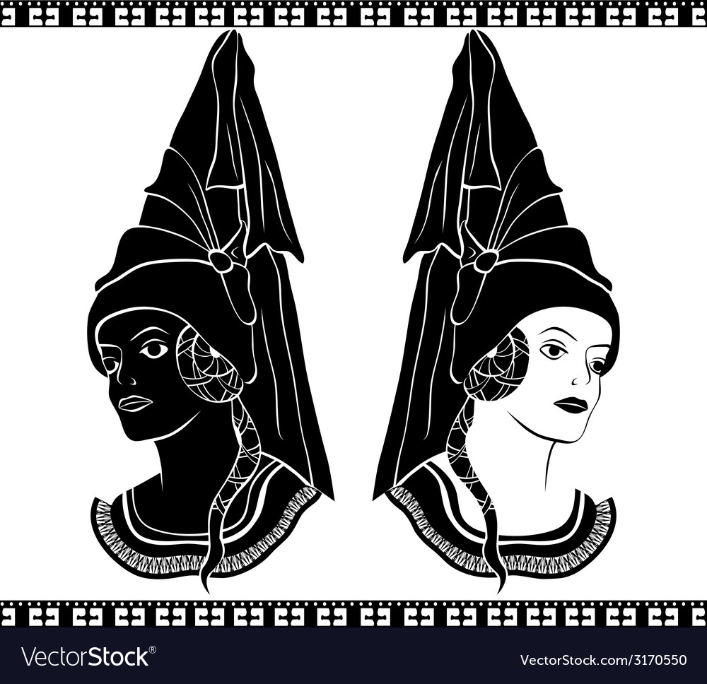 Ladies in medieval hats stencil vector | Price: 1 Credit (USD $1)