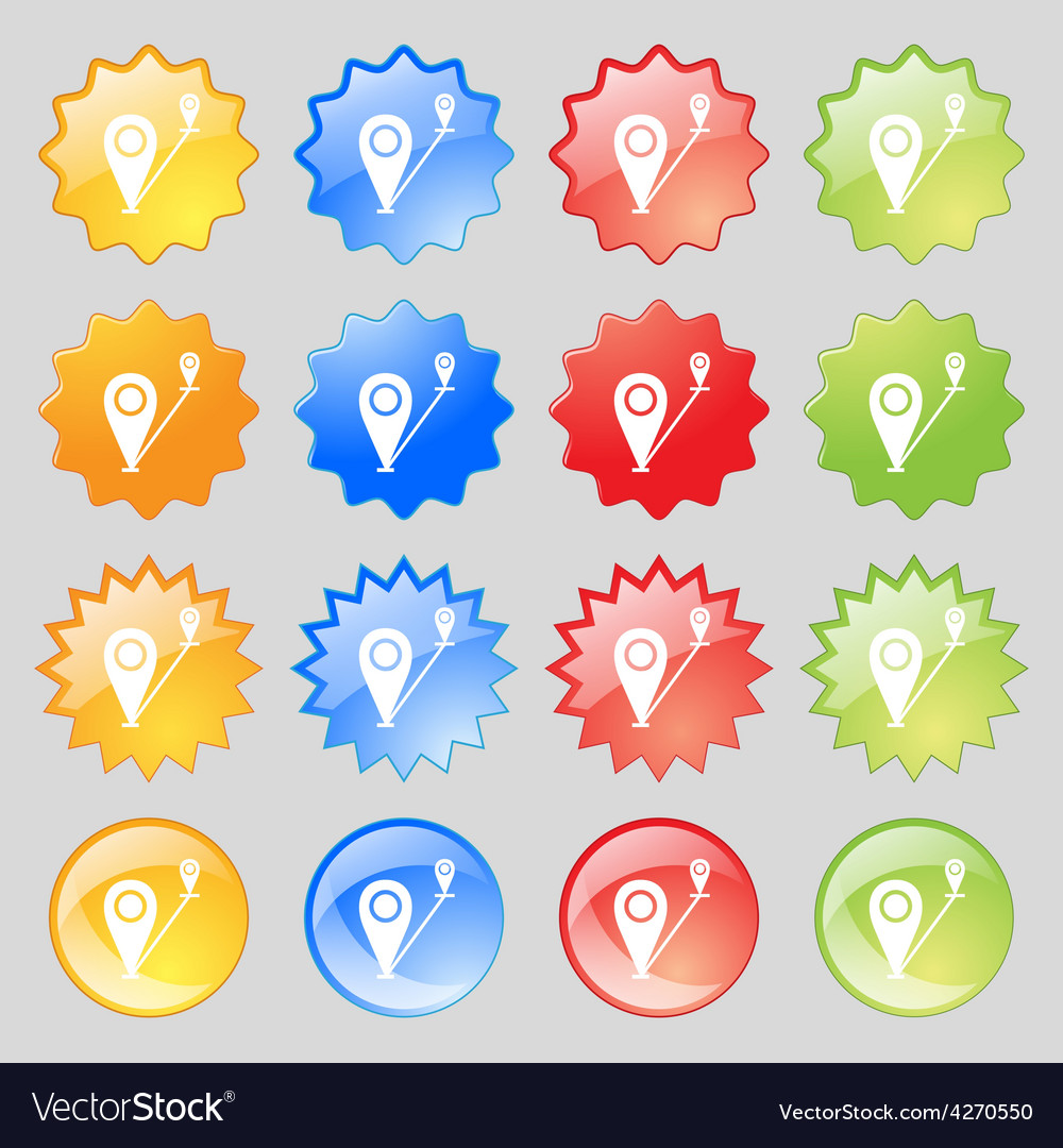 Map pointer icon sign big set of 16 colorful vector   Price: 1 Credit (USD $1)