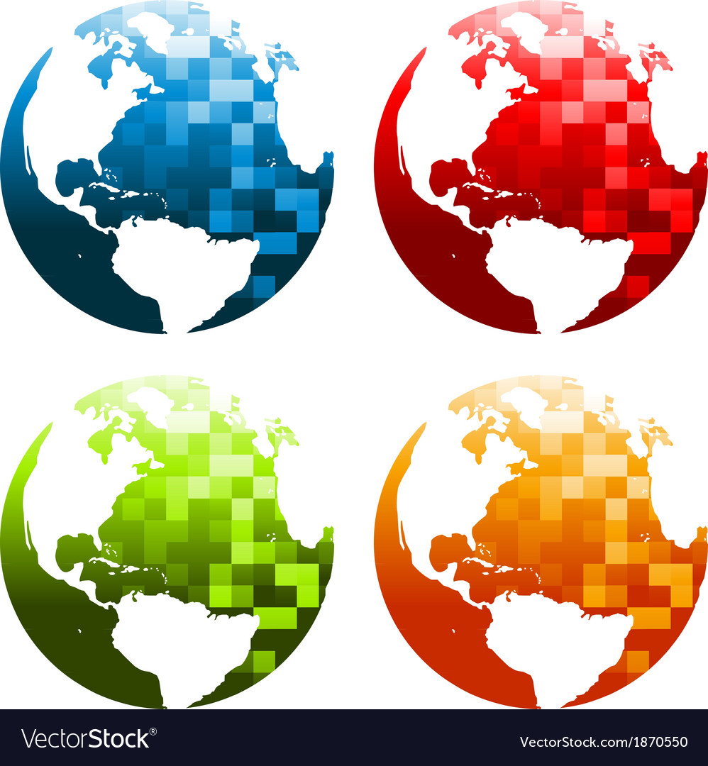 Pixel planet earth icons vector | Price: 1 Credit (USD $1)