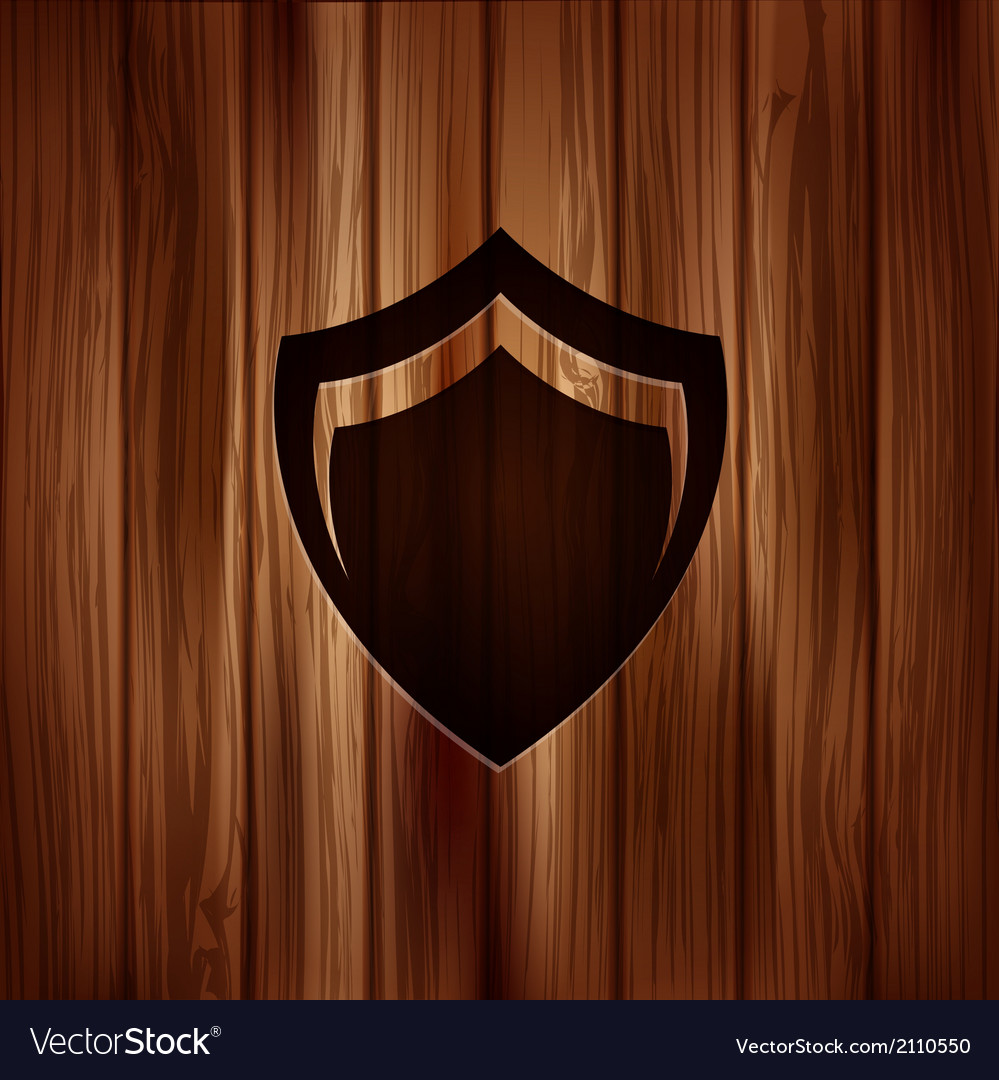 Shield protection icon wooden texture vector | Price: 1 Credit (USD $1)