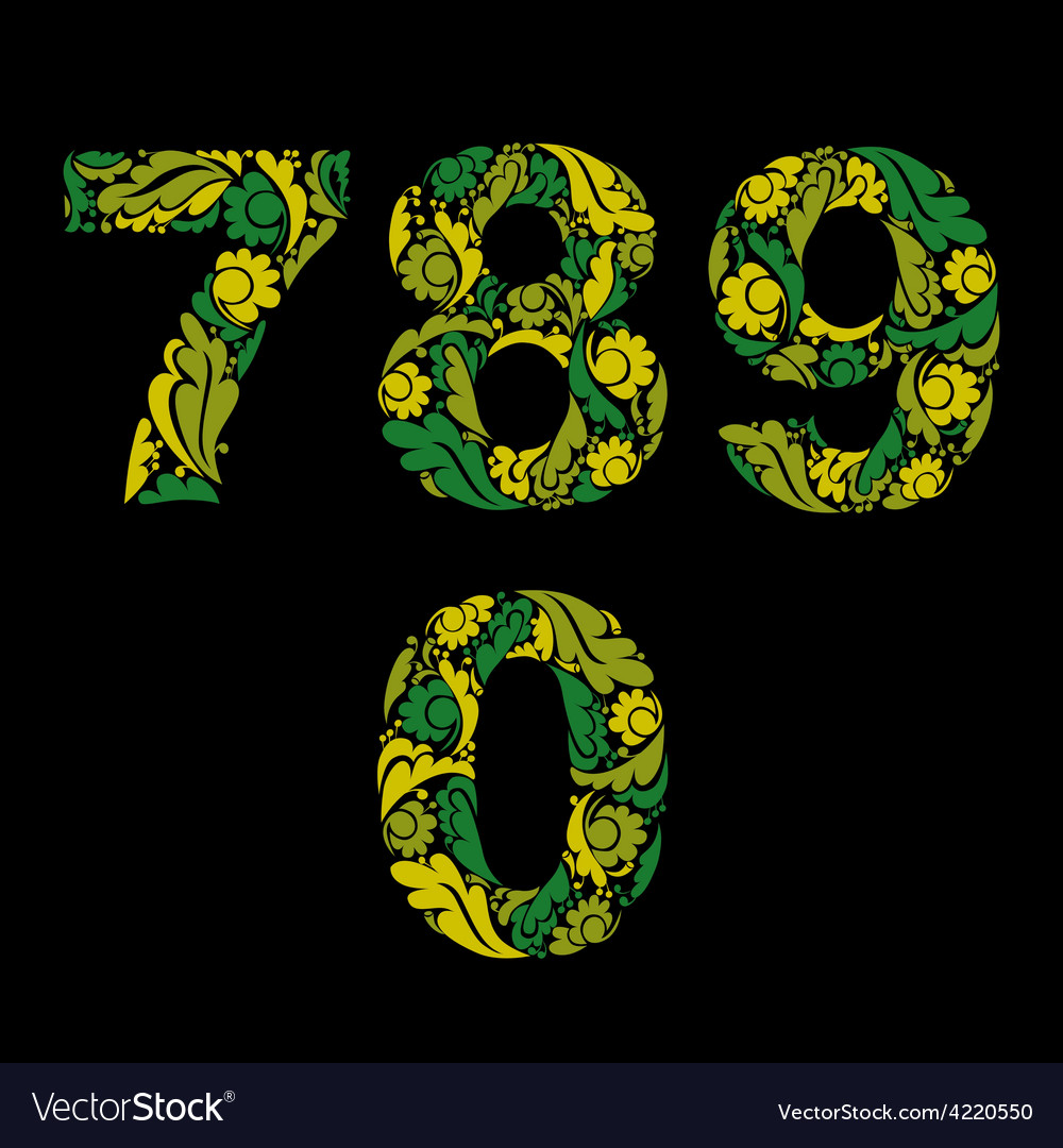 Spring style green digits numbers with eco floral vector | Price: 1 Credit (USD $1)