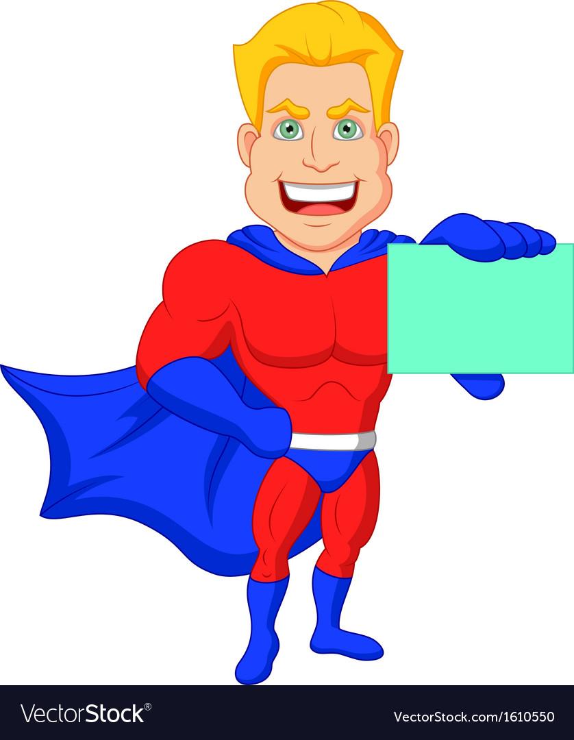 Superhero cartoon holding name card vector | Price: 1 Credit (USD $1)