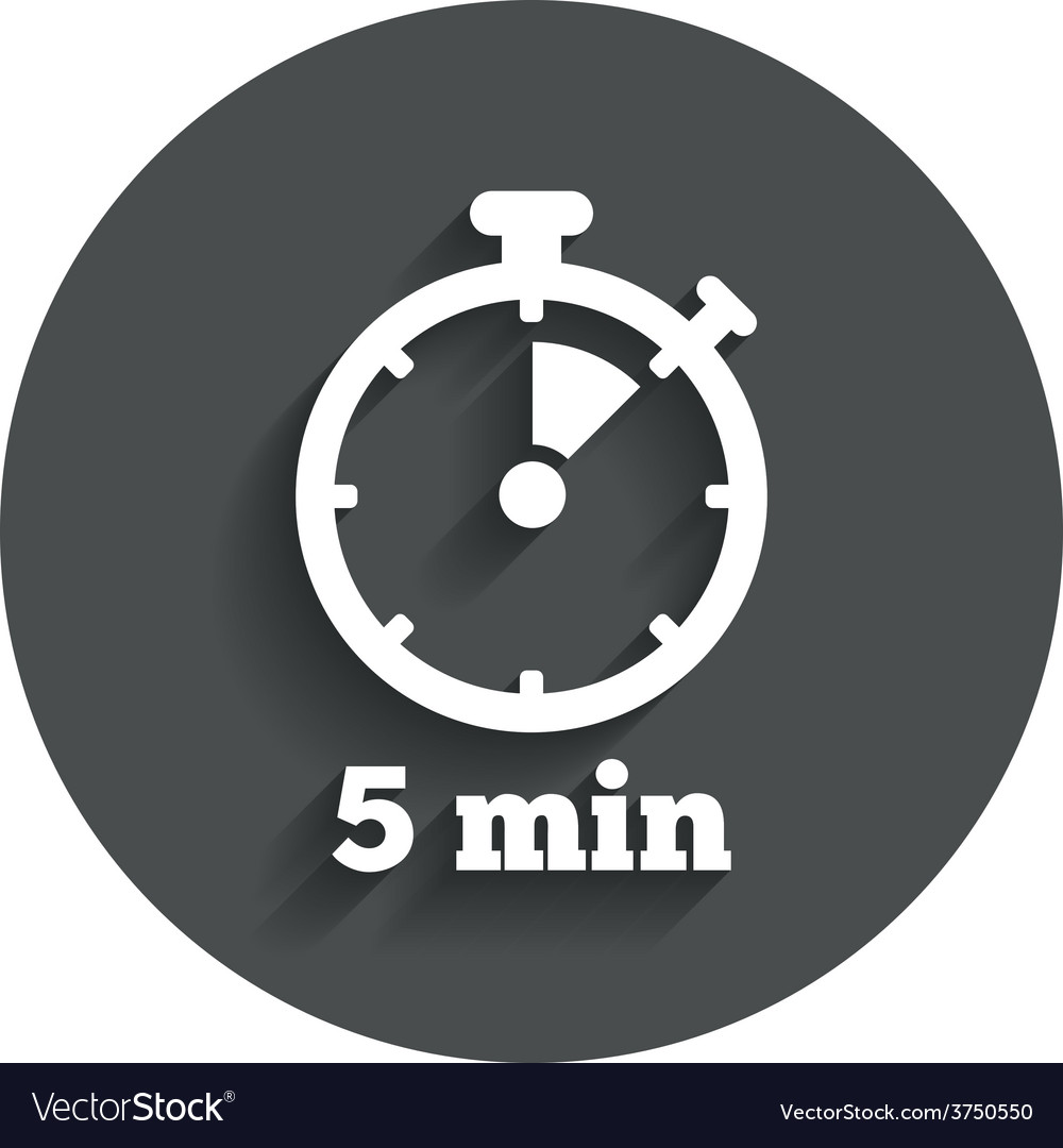 Timer sign icon 5 minutes stopwatch symbol vector | Price: 1 Credit (USD $1)