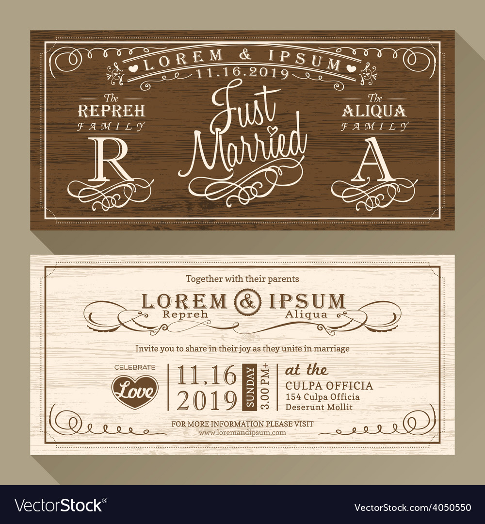 Vintage wedding invitation card border and frame vector | Price: 1 Credit (USD $1)