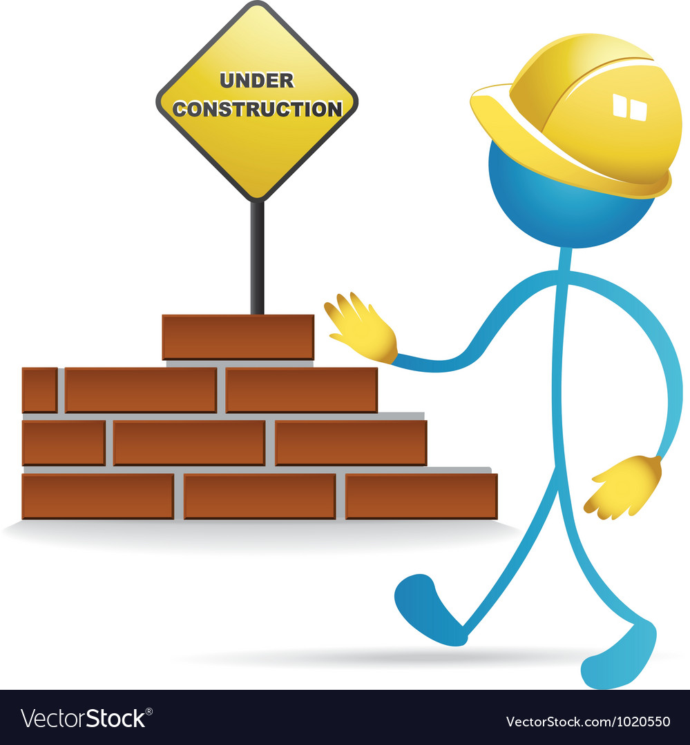 Worker and construction sign vector | Price: 1 Credit (USD $1)