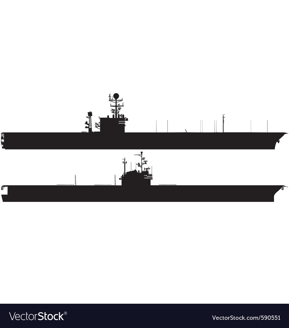 Aircraft carrier silhouettes vector | Price: 1 Credit (USD $1)