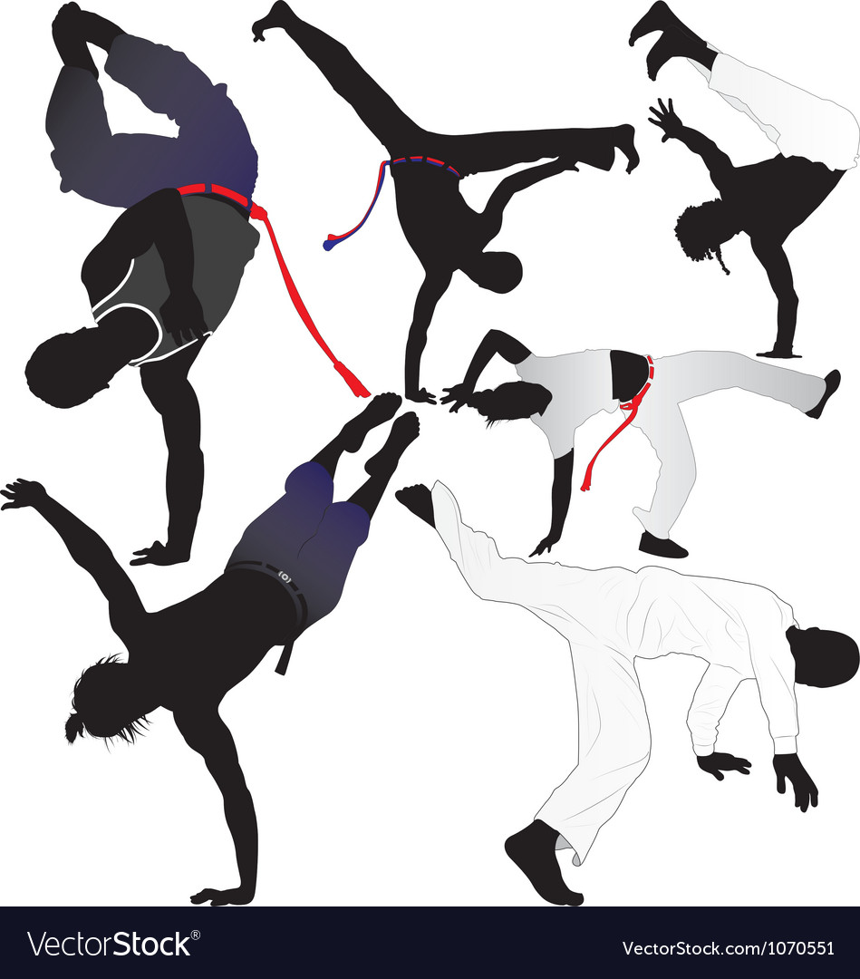 Capoeira fighter or breakdancer silhouettes vector | Price: 1 Credit (USD $1)